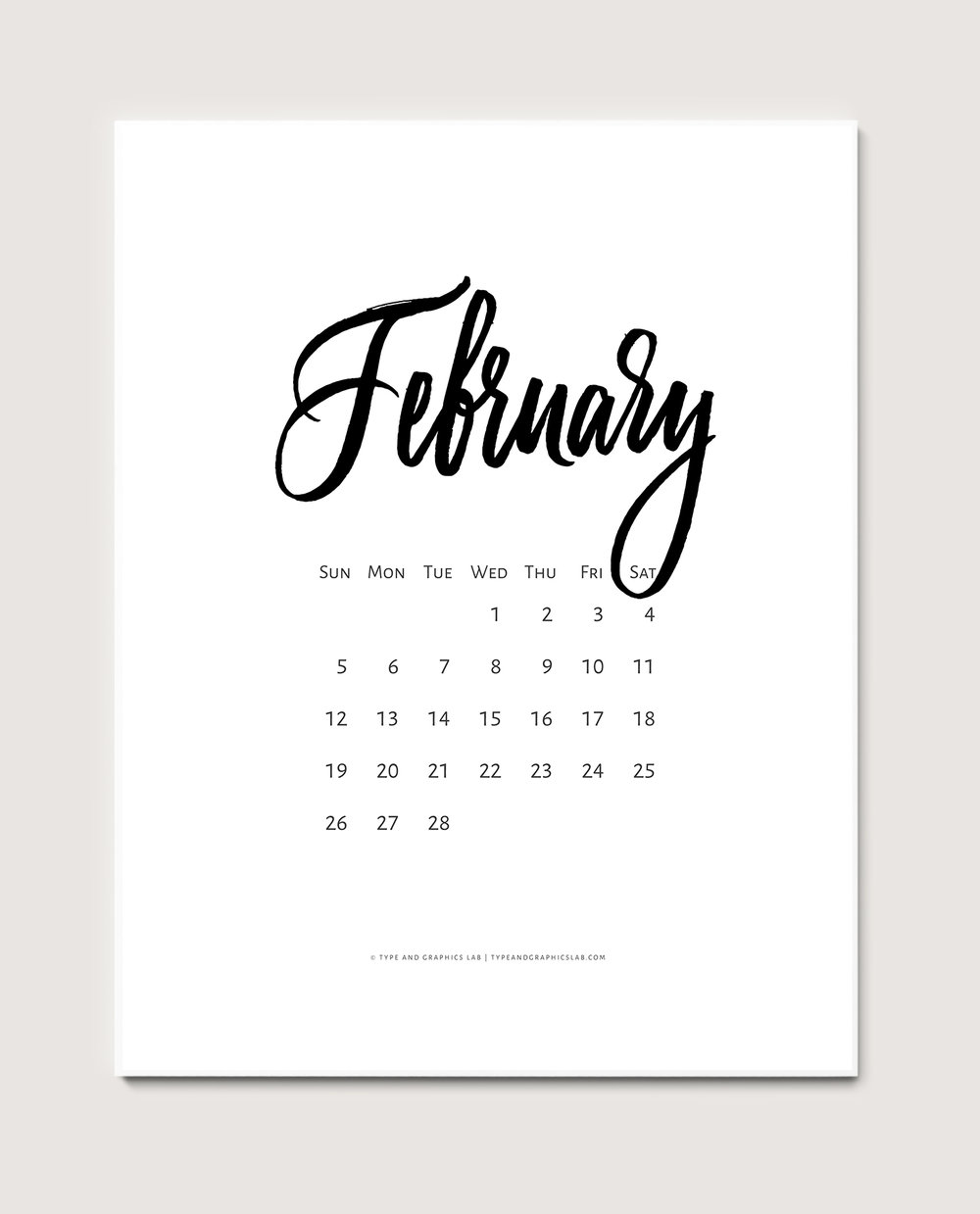 Download a free printable calendar for February 2017 | © typeandgraphicslab.com | For personal use only
