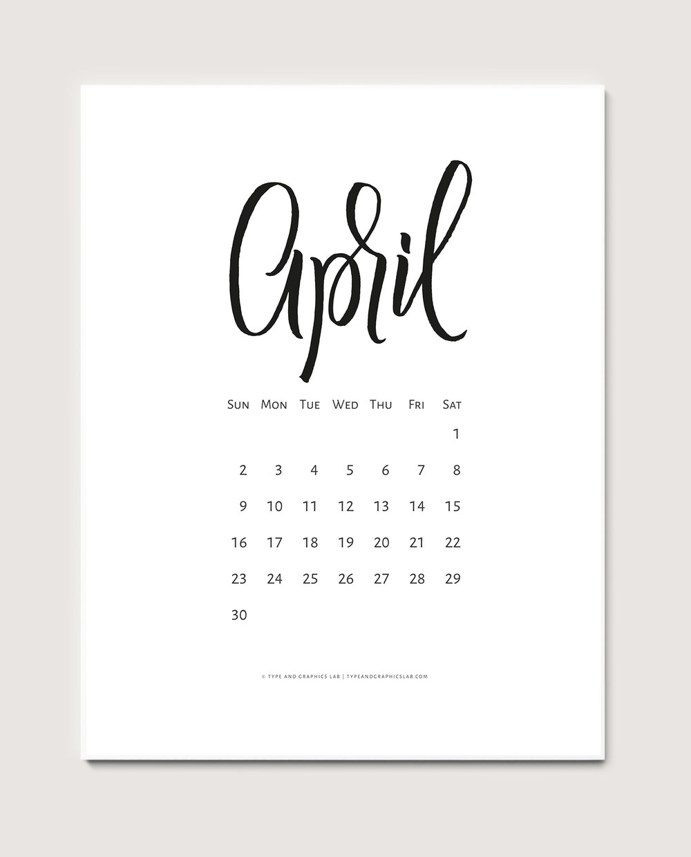 Download a free printable calendar for April 2017 | © typeandgraphicslab.com | For personal use only