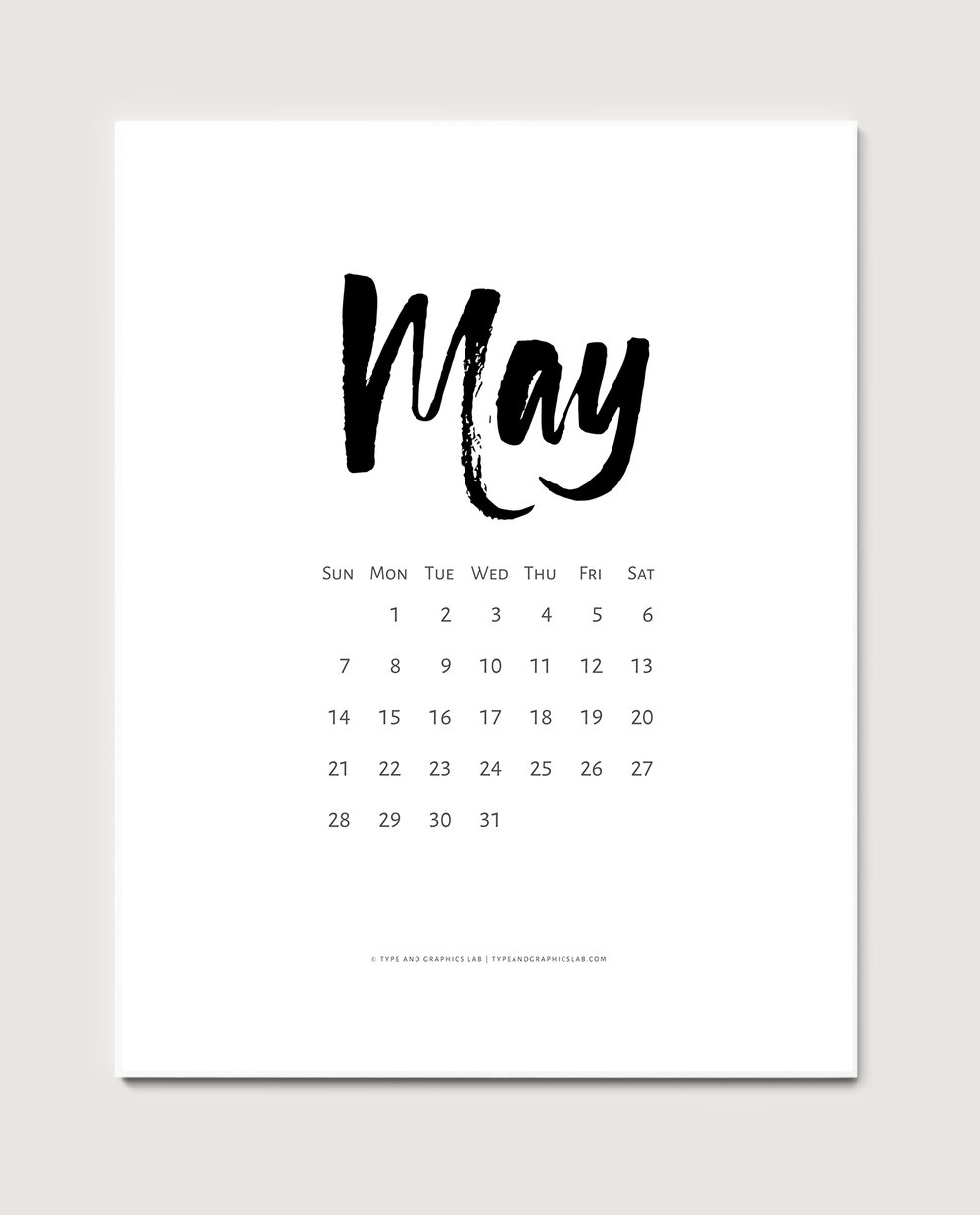 Download a free printable calendar for May 2017 | © typeandgraphicslab.com | For personal use only