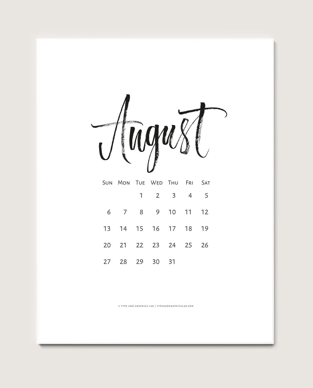 Download a free printable calendar for August 2017 | © typeandgraphicslab.com | For personal use only