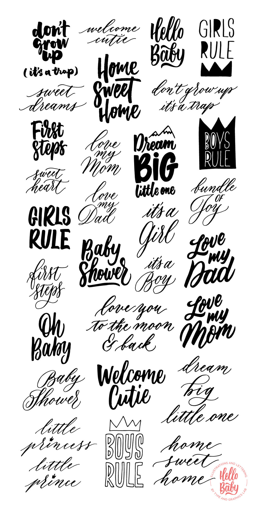 HELLO BABY is a collection of cute hand drawn illustrations, lettering overlays & surface patterns designed to welcome the little ones. It's a perfect bundle to decorate your baby shower cards, nursery art prints, and, of course, to announce the arrival of a new little person in your life! Available on Creative Market: https://crmrkt.com/GJqGNo