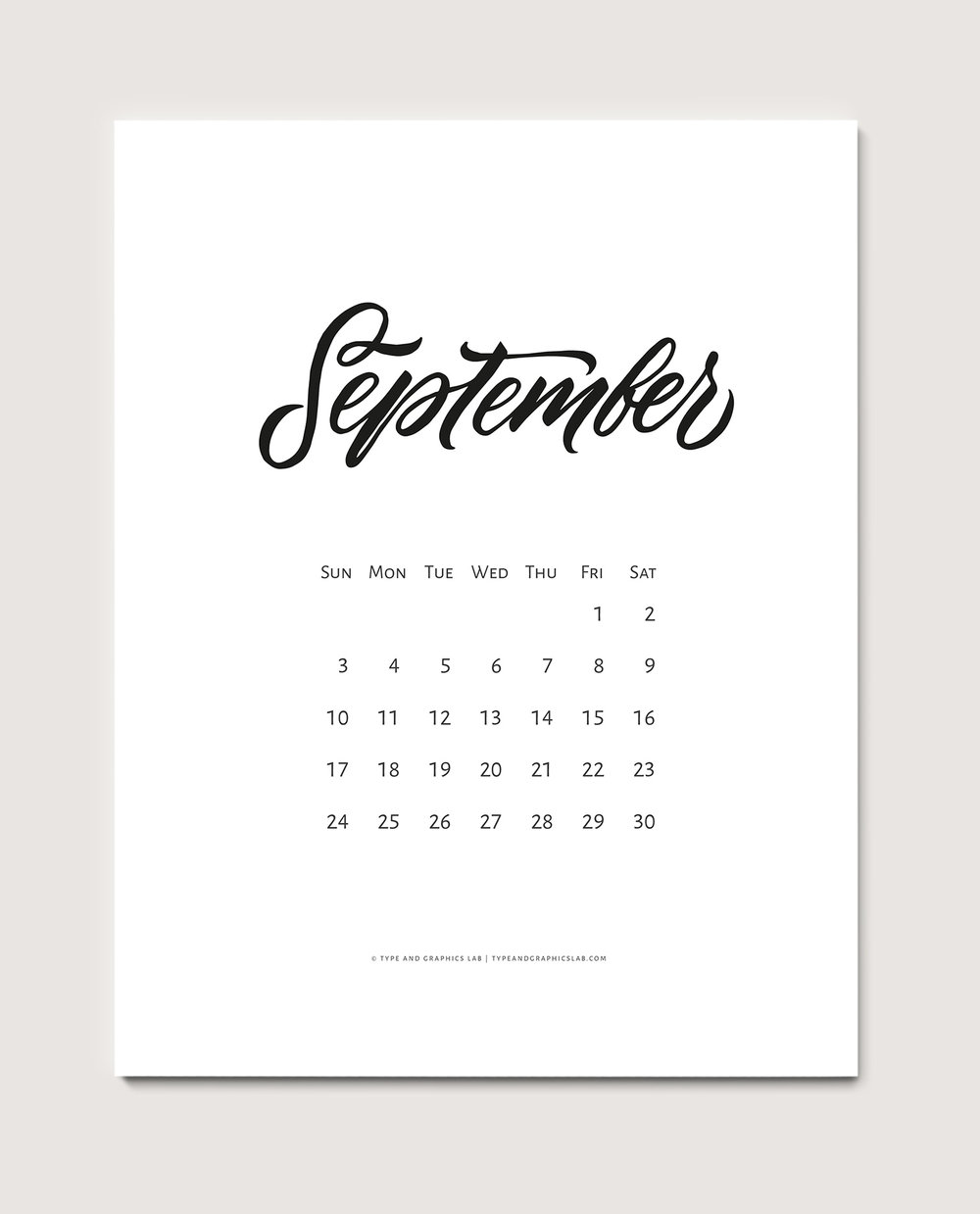 Download a free printable calendar for September 2017 | © typeandgraphicslab.com | For personal use only