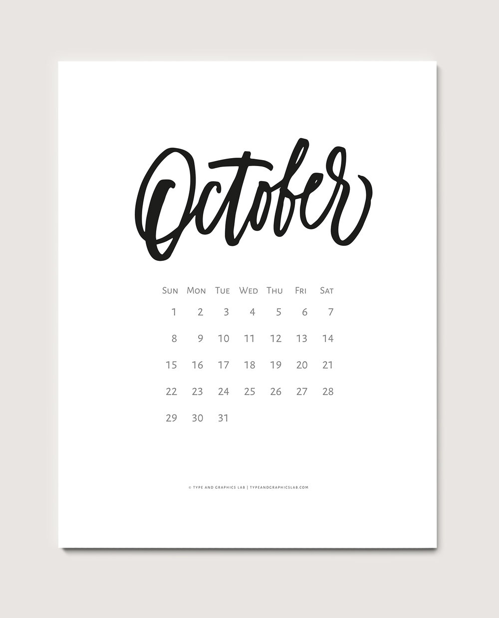 Download a free printable calendar for October 2017 | © typeandgraphicslab.com | For personal use only