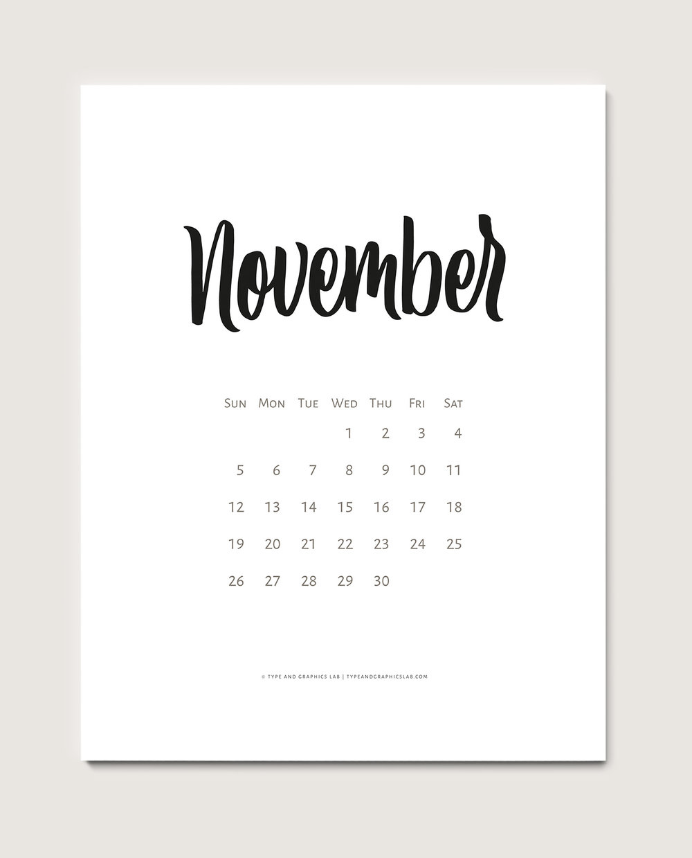 Download a free printable calendar for November 2017 | © typeandgraphicslab.com | For personal use only