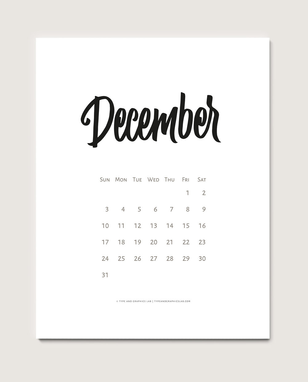 Download a free printable calendar for December 2017 | © typeandgraphicslab.com | For personal use only