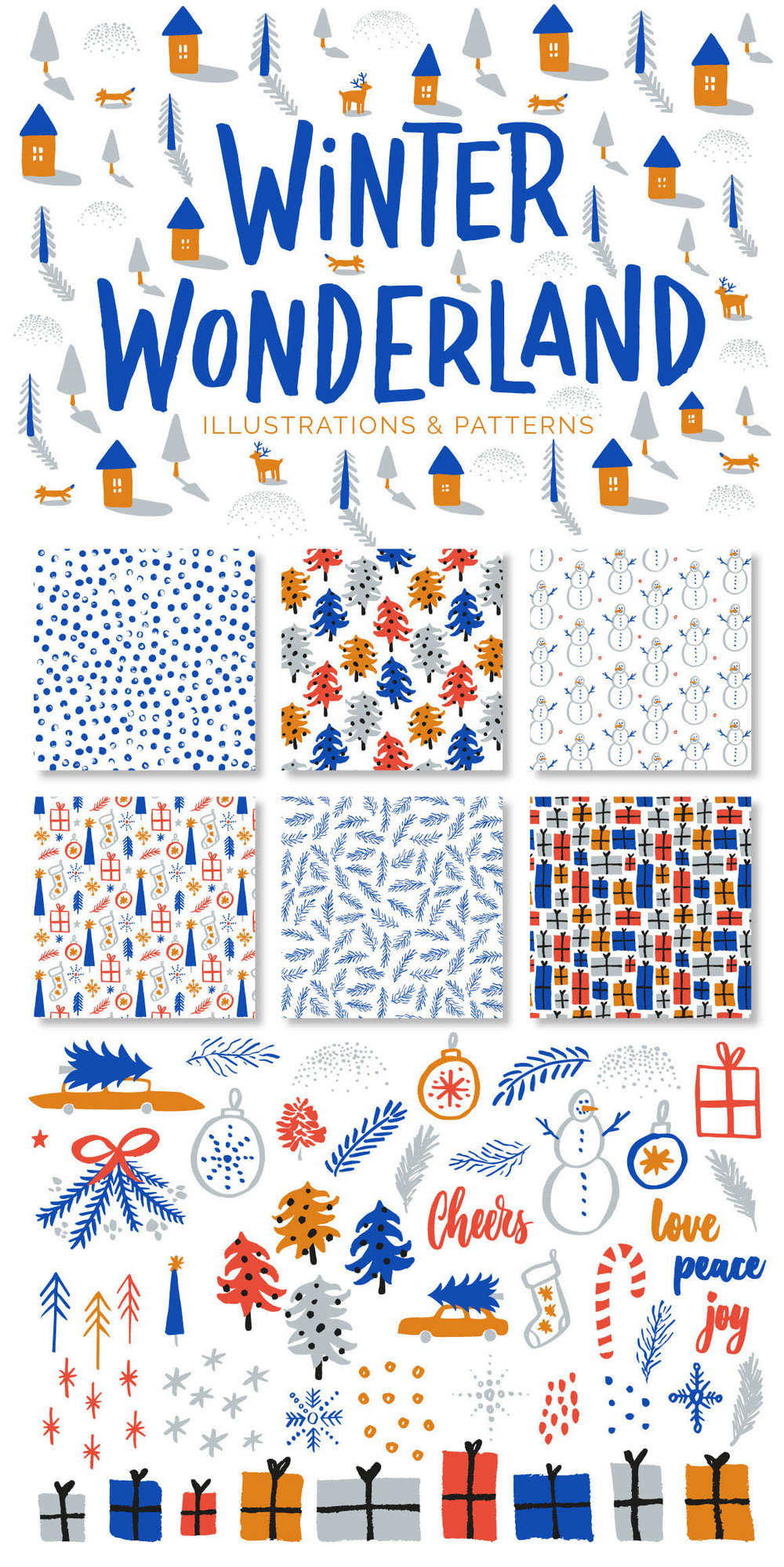 Download these festive Christmas patterns and illustrations for your design projects! | Handcrafted with love by Type and Graphics Lab | typeandgraphicslab.com