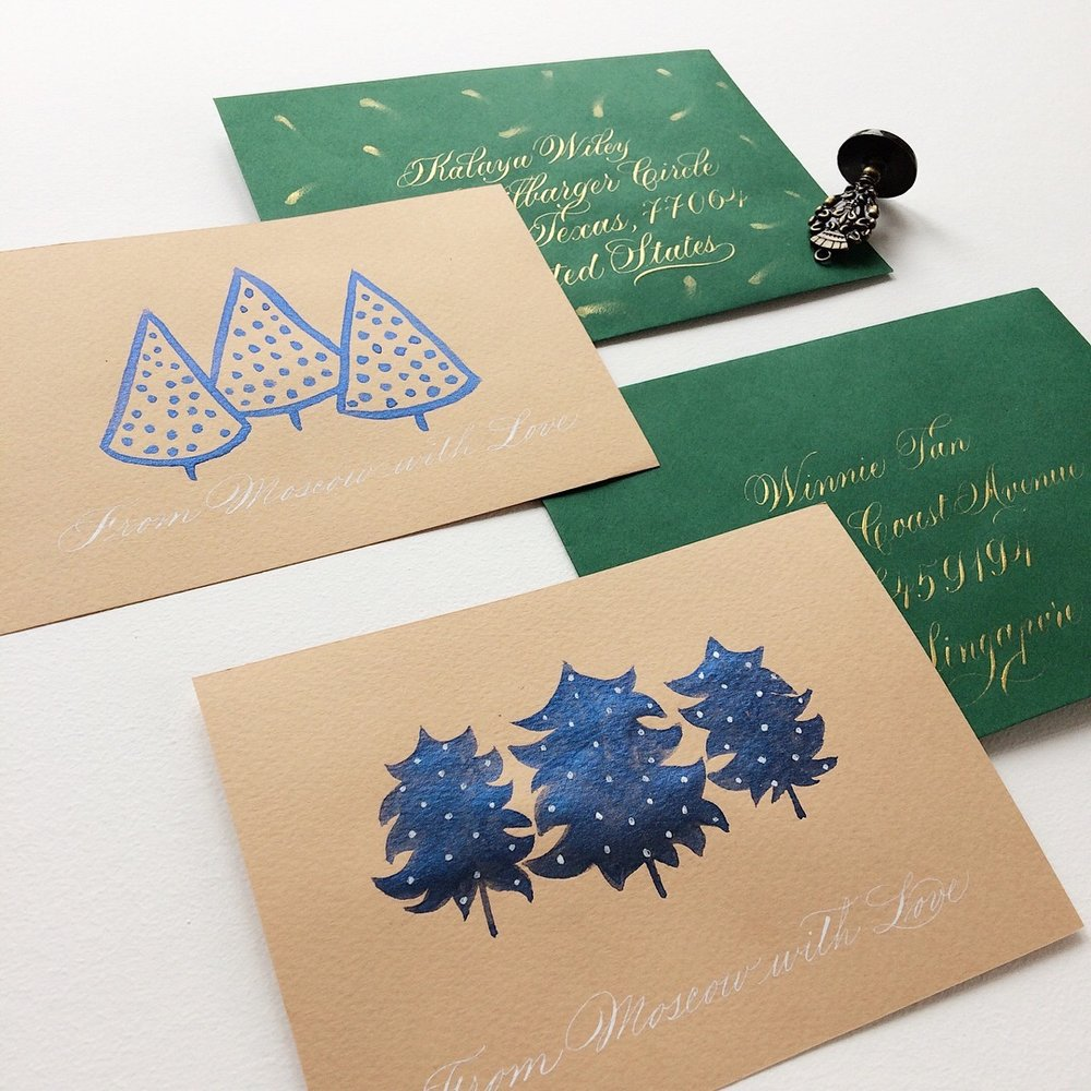 Calligraphed envelopes with a hand written note | By Type and Graphics Lab