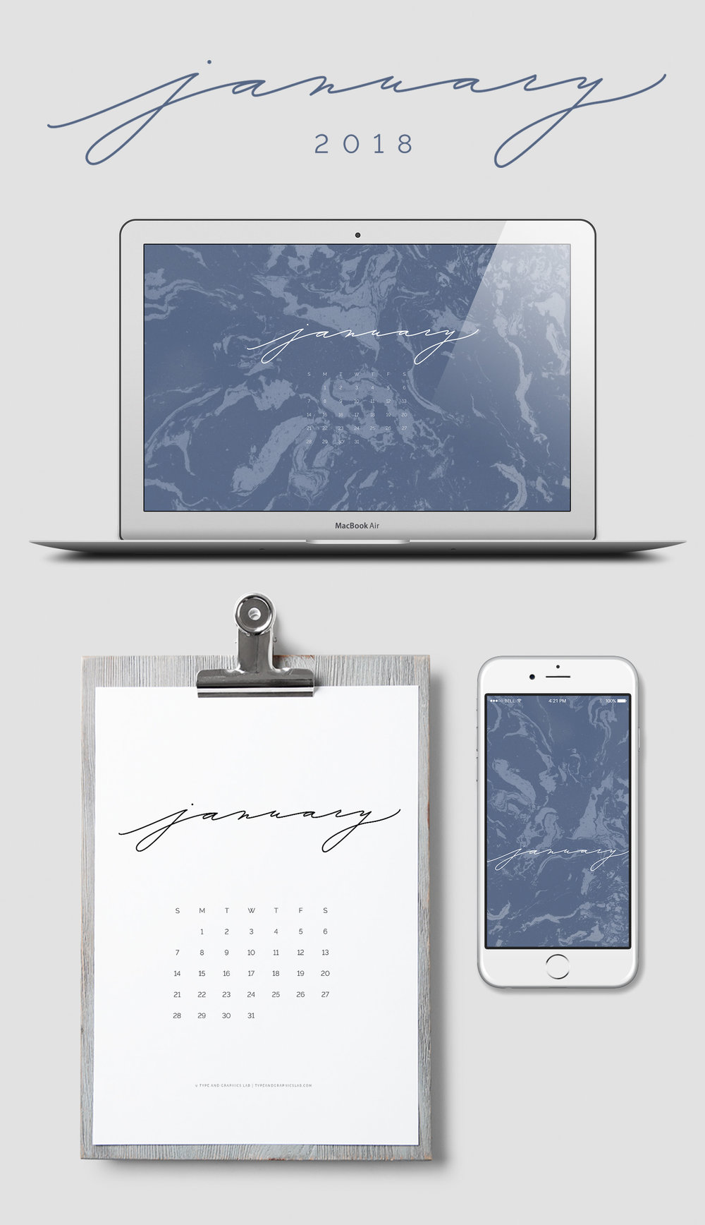 Download free desktop, mobile, and printable calendar for January 2018 | © typeandgraphicslab.com | For personal use only
