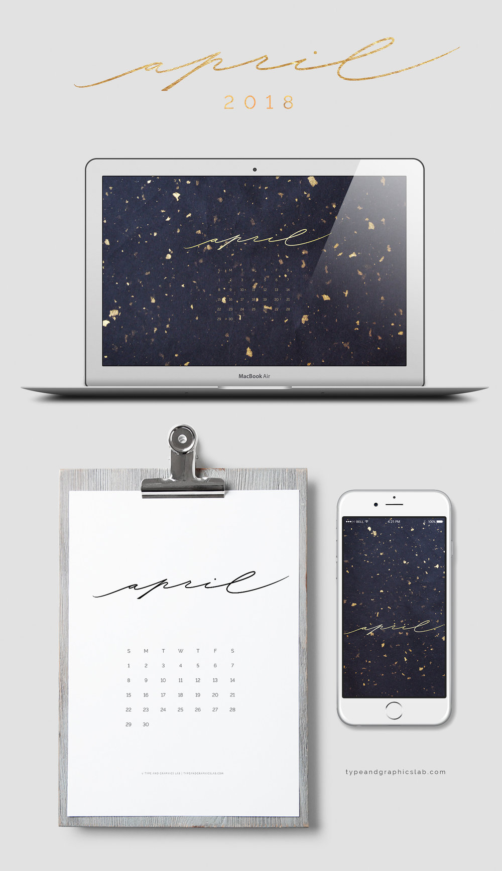 Download free desktop, mobile, and printable calendar for April 2018 | © typeandgraphicslab.com | For personal use only
