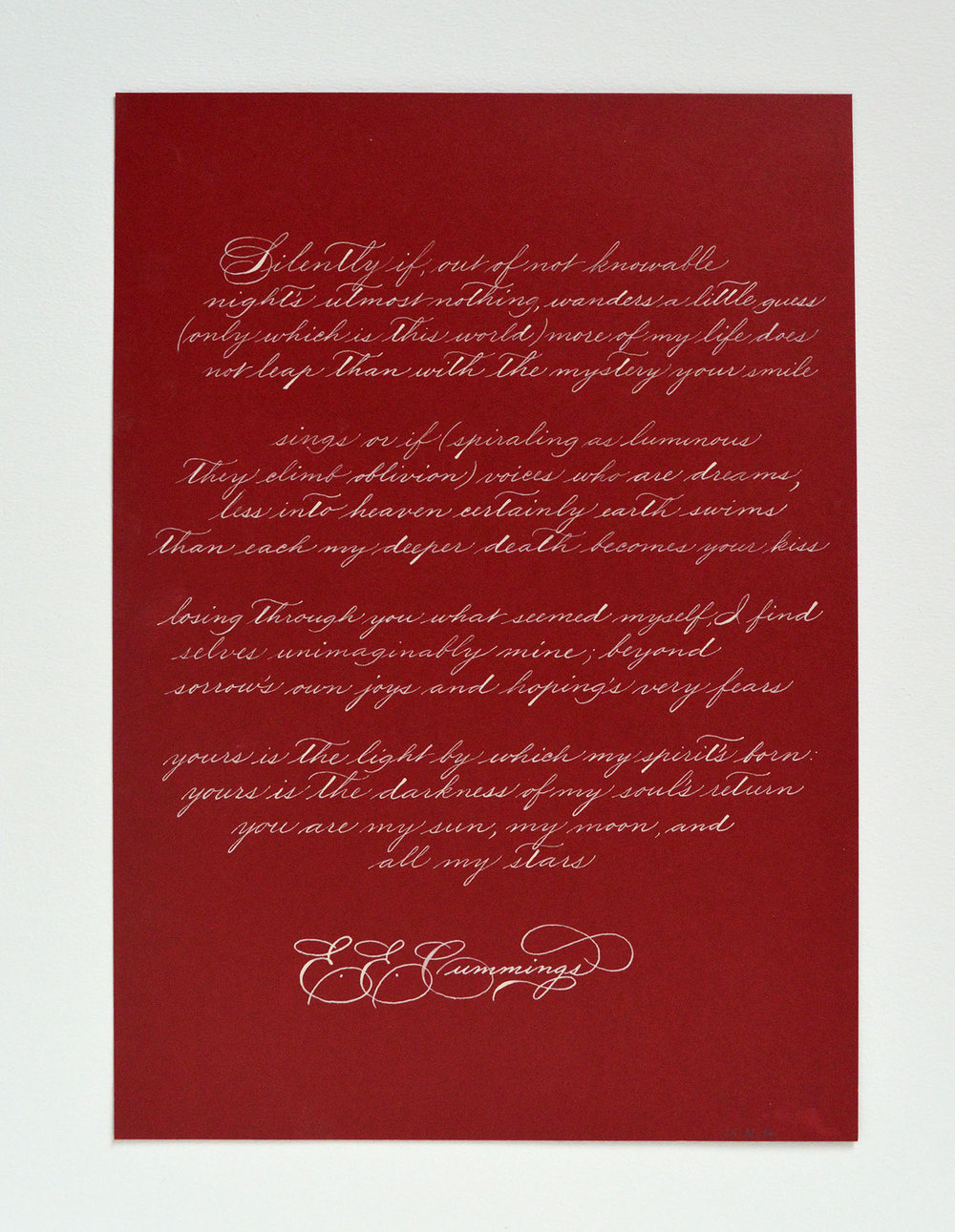 A hand written quote by E. E. Cummings | Calligraphy by Type and Graphics Lab | typeandgraphicslab.com