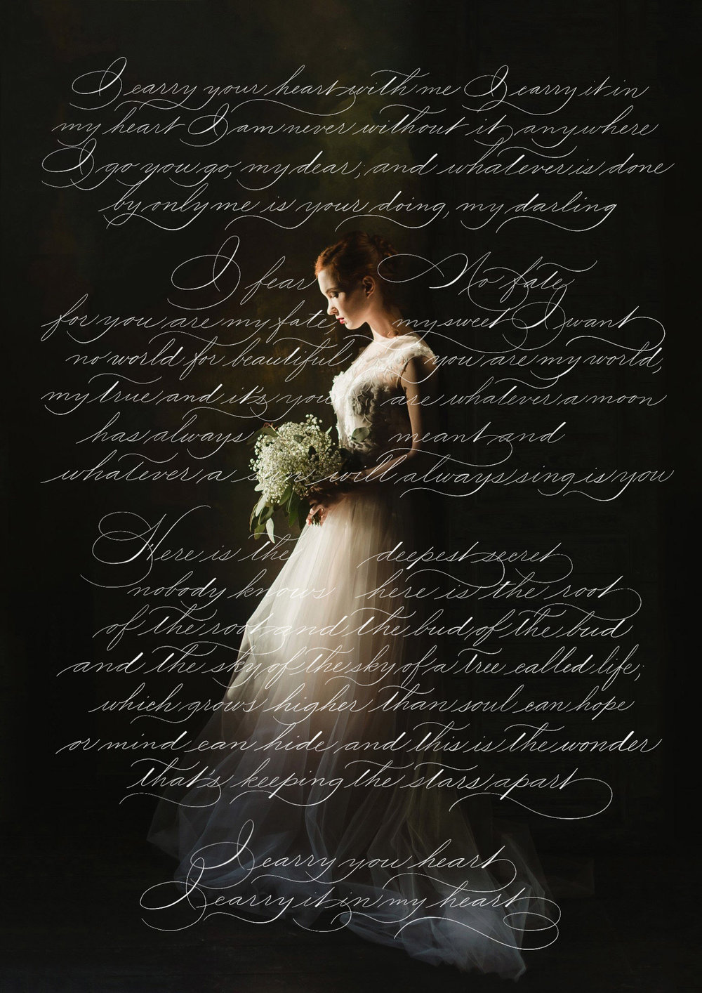 "Cummings' poem ""I carry your heart with me"" written in Spencerian style calligraphy by Type and Graphics Lab 