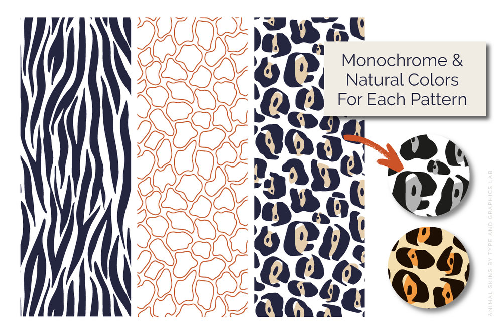 Grab this collection of 12 fun and playful animal skin patterns! Fully editable, these seamless repeats can be used in various design projects including branding, social media posts, print & digital advertisements, product designs, and many more. Learn more on Creative Market:    https://crmrkt.com/r7Jdjr