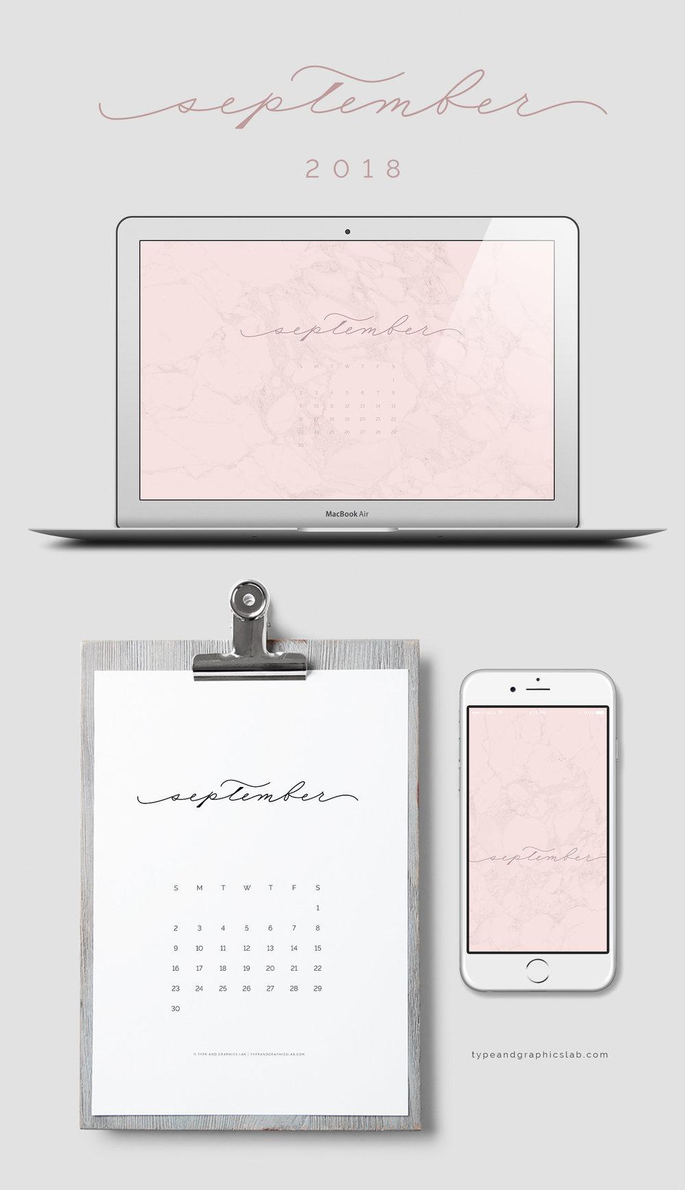 Download free desktop, mobile, and printable calendar for September 2018 |©typeandgraphicslab.com | For personal use only