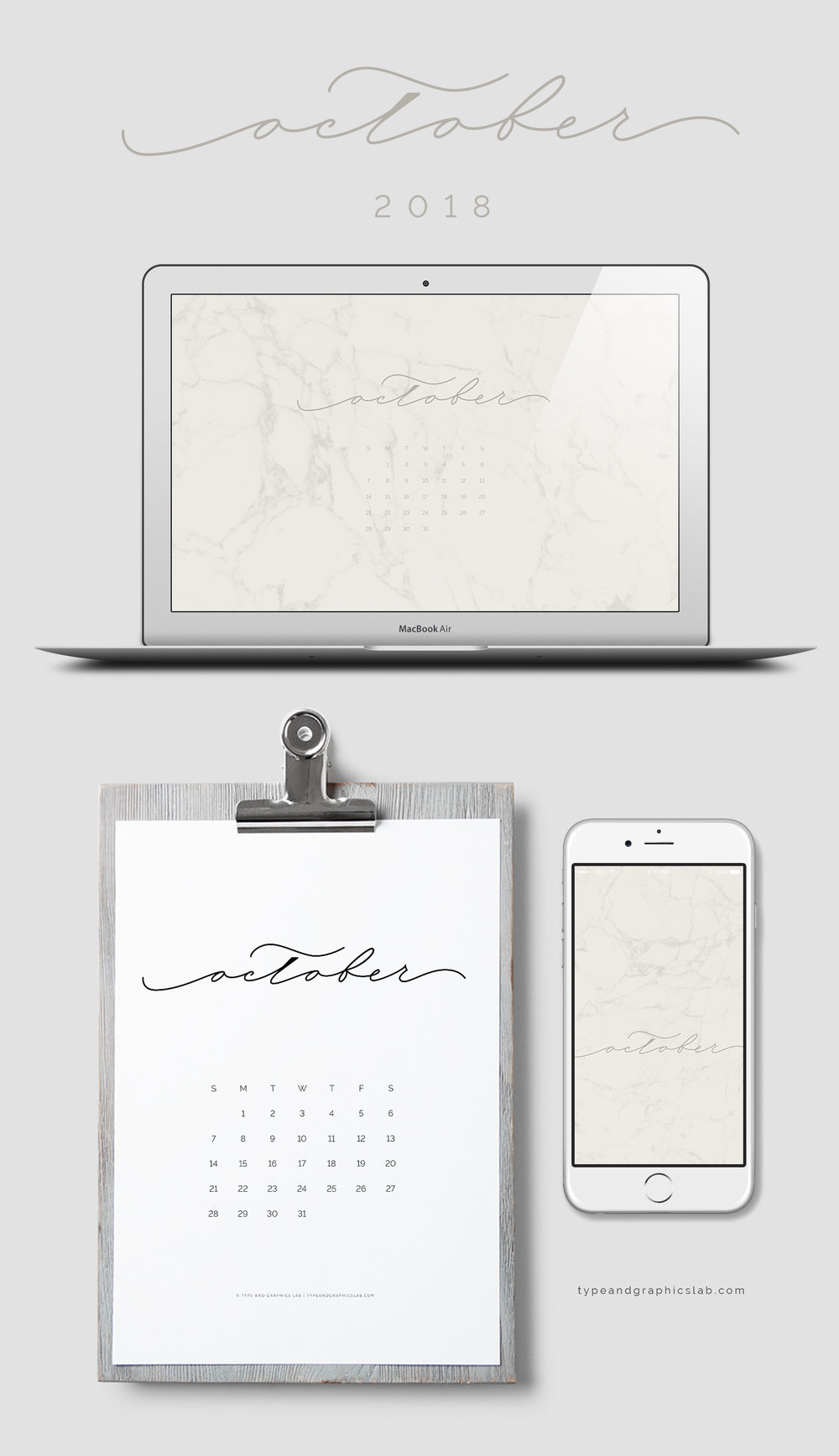 Download free desktop, mobile, and printable calendar for October 2018 | © typeandgraphicslab.com | For personal use only