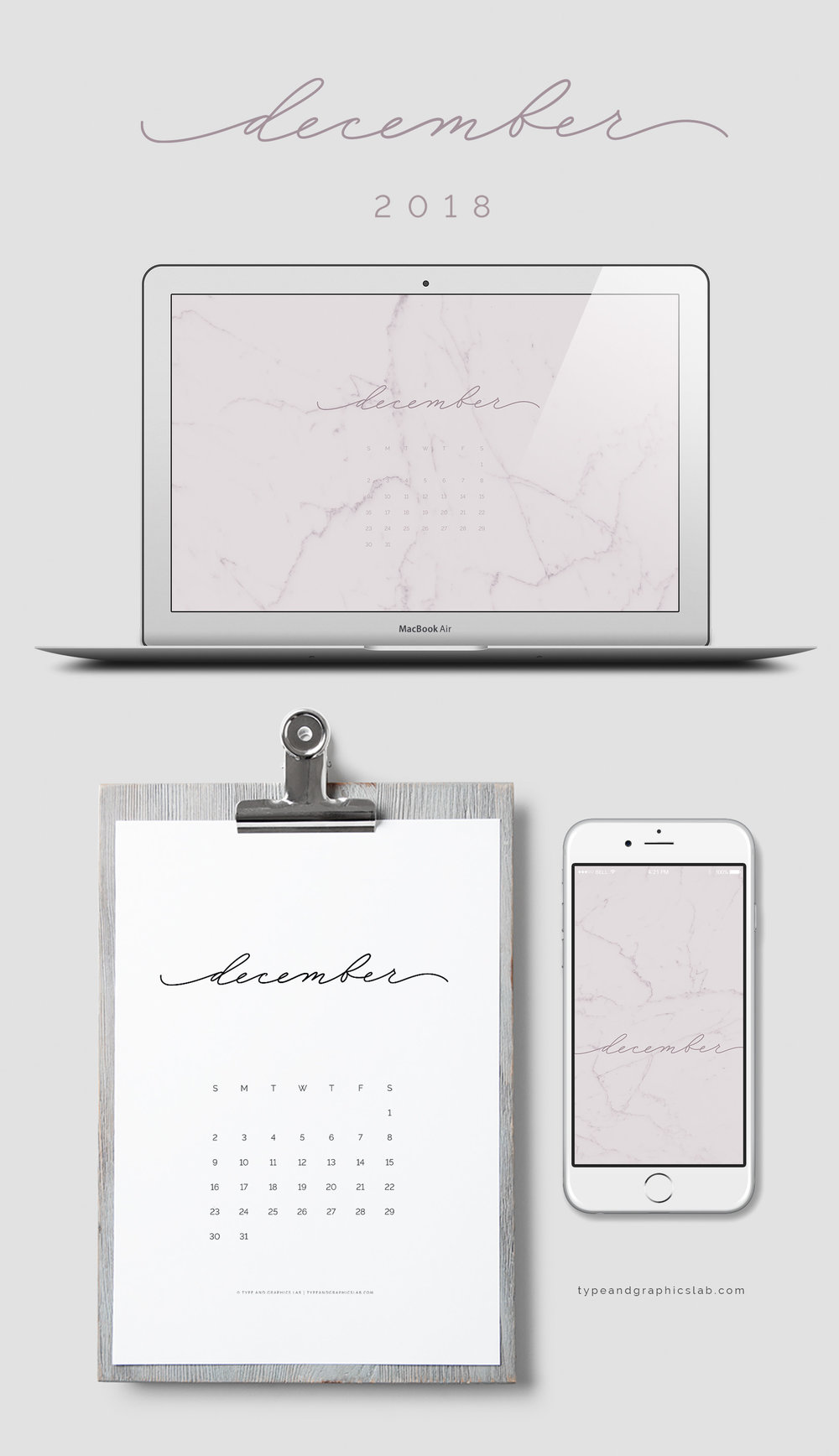 Download free desktop, mobile, and printable calendar for December 2018 | © typeandgraphicslab.com | For personal use only