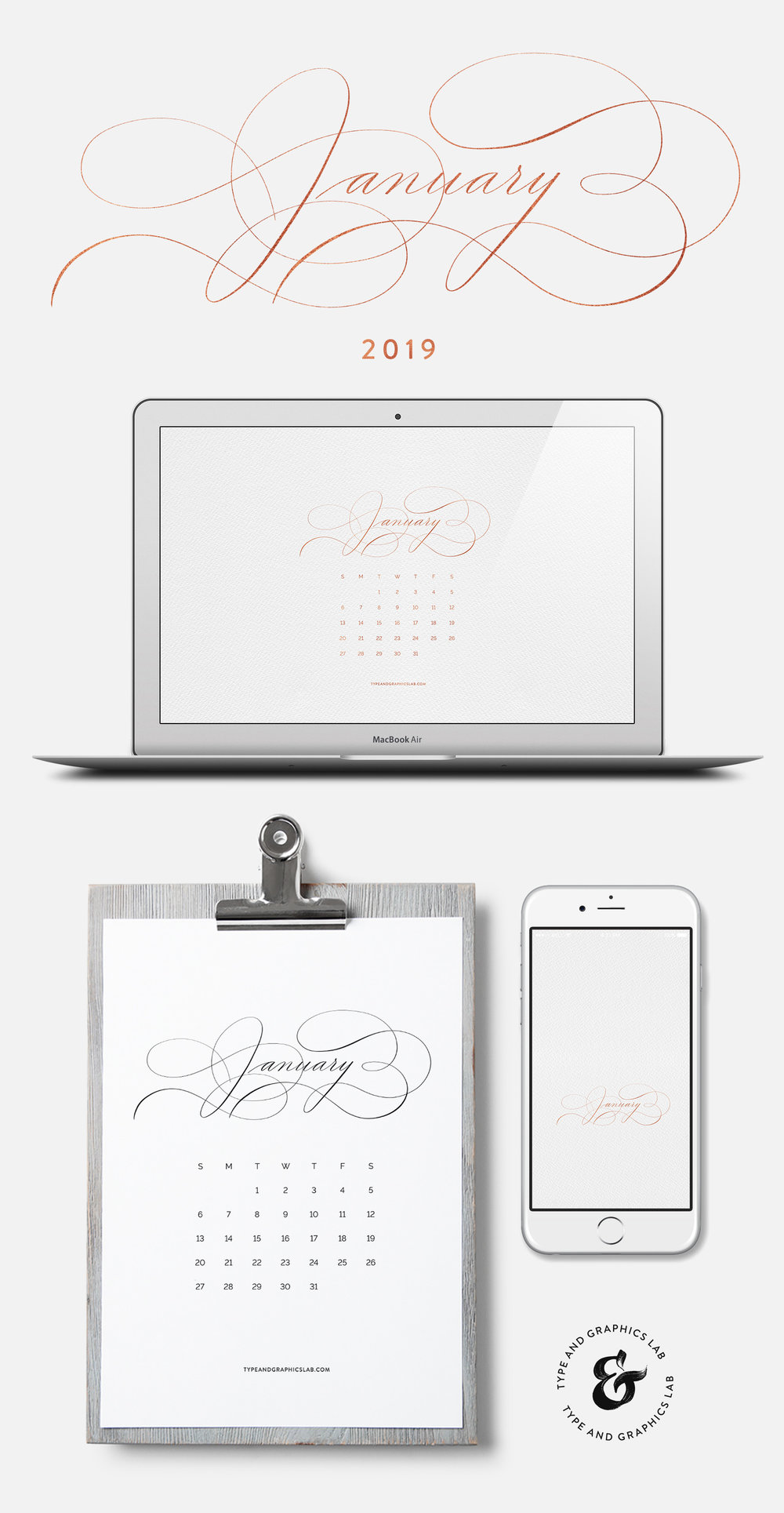 Download free desktop, mobile, and printable calendar for January 2019 | © typeandgraphicslab.com | For personal use only