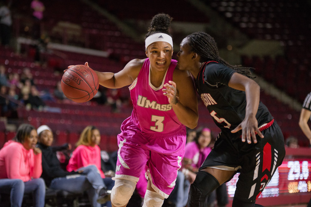 UMass Women's Basketball lost to Davidson 59-63 at the Mullins Center on Saturday, Feb. 4, 2017. 