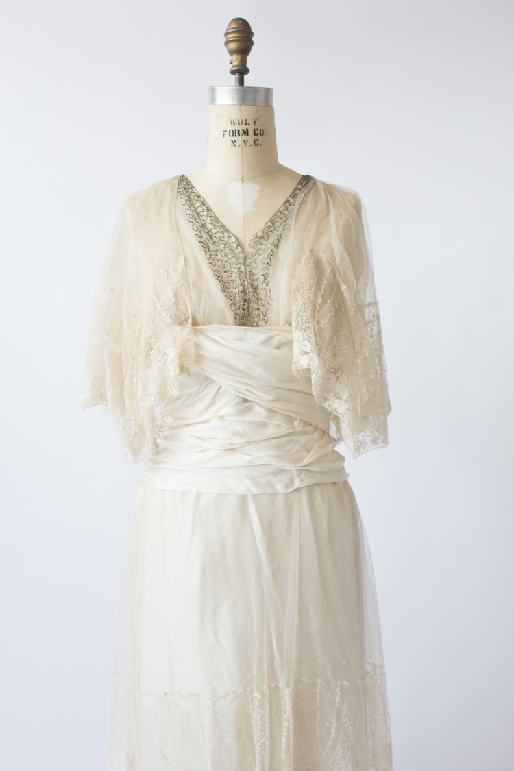 antique 1900's french silk + lace wedding gown — camillia