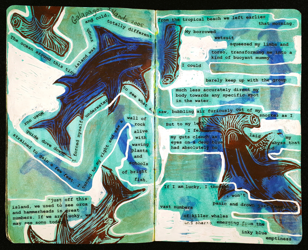 A visual journal is a marriage of writing and art; a playground for a busy, creative mind; an amplification of your inner voice; a record of your experiences; a regular meeting over coffee between you and yourself. Through a rich layering of mixed media drawing, printmaking and collage, this autobiographical journal immerses the reader in a colorful narrative about life, art, science, travel and family.    Never Flinch: A Visual Journal is now available on blurb.com or locally at  Bookmark It  , Cornell Fine Arts Museum and the  Orlando Museum of Art  retail shop.