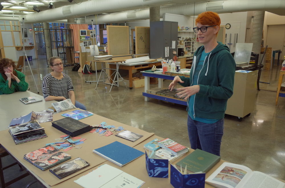 Discussing birds, birdwatching and artist's books, photo by Ben Rinehart