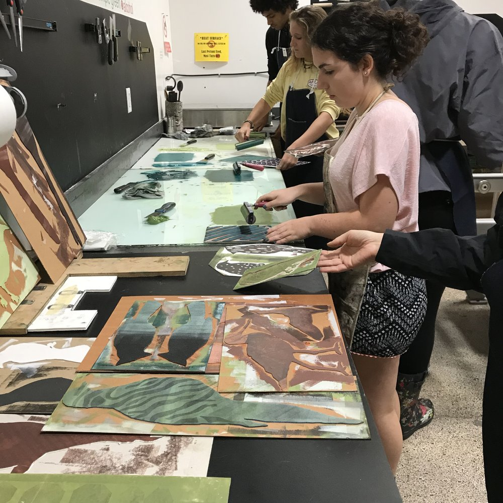 University of Tampa students adding prints to  FLOCK, October 16, 2017