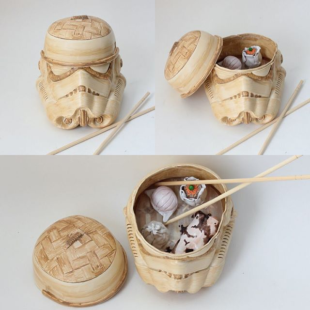 What makes #dimsum better? When it's served in a #stormtrooper bamboo steamer 🍲  Piece commissioned by @sillyranran