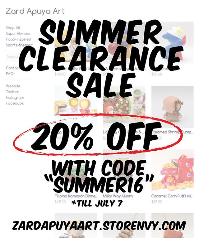 """😎☀️ Happy Summer, Everyone! I'm having a Summer Clearance Sale and offering 20% OFF with code """"SUMMER16"""" for customs I have in my online store.  I'm clearing some space and raising funds for something BIG I have coming in a few months!  Link to my store in my bio. 👍🏽"""