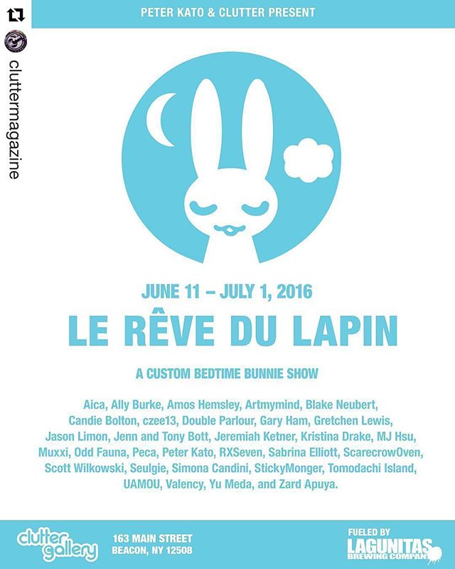 """#Repost @cluttermagazine ・・・ We're so excited for the opening reception of """"Le Rêve du Lapin"""" tomorrow at The Clutter Gallery. There are so many amazing artists, it's going to be such an awesome show! Be sure to visit Clutter Gallery tomorrow from 6-9PM for the reveal of all the beautiful Bunnies! Peter Kato will be in attendance, and he may or may not have some special tricks up his sleeve for this show. ;) @peterkato #PeterKato #BedtimeBunnies #LeRêveduLapin #ClutterGallery #cluttermagazine #vinyltoy #customtoy #artexhibition #arttoy #designertoy #toyart"""