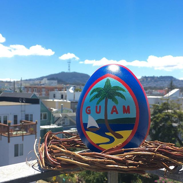 """#SF livin' 🌉 Born and raised on #Guam 🇬🇺 🐣 It makes a great addition to your home, room, or work desk to show some #GuamPride.  Customized 6"""" egg available for purchase: $40 (incl. shipping) email or DM if interested 😄👍🏼"""