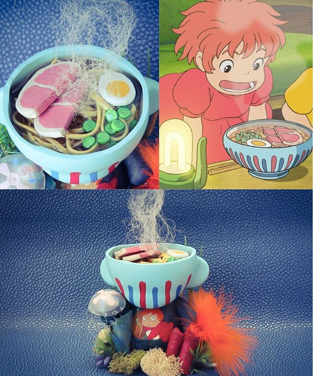 My second piece for the #Miyazaki tribute show is inspired by #Ponyo in her underwater home as a fish and her hot bowl of #Ramen 🍜🌊
