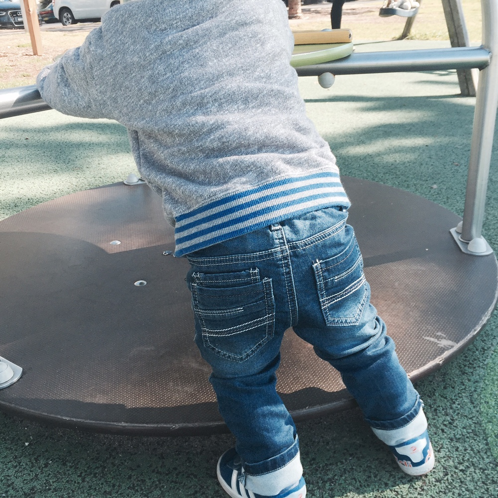 Harry giving his Tumble n Dry jeans from Little Gents a workout