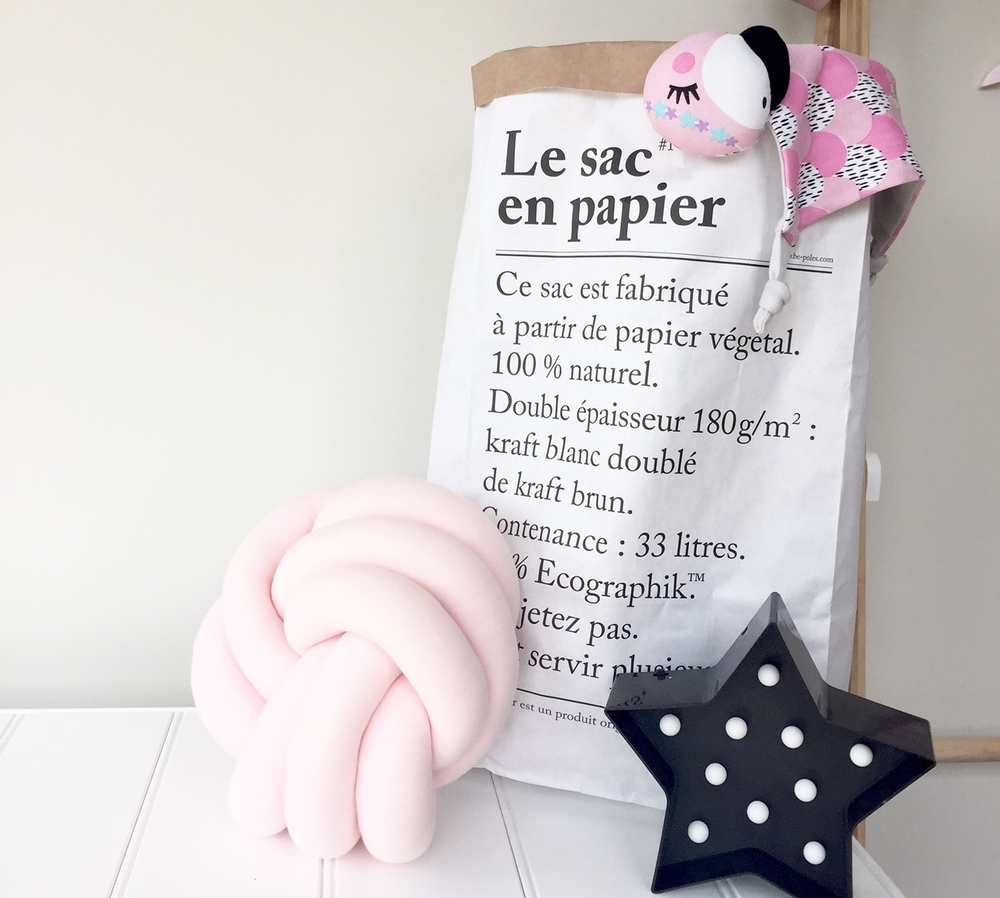 Blanket box with My Little Echo cushion, Typo light, Le Sac en Papier Bag from Poppy James Store and Coco Kippin