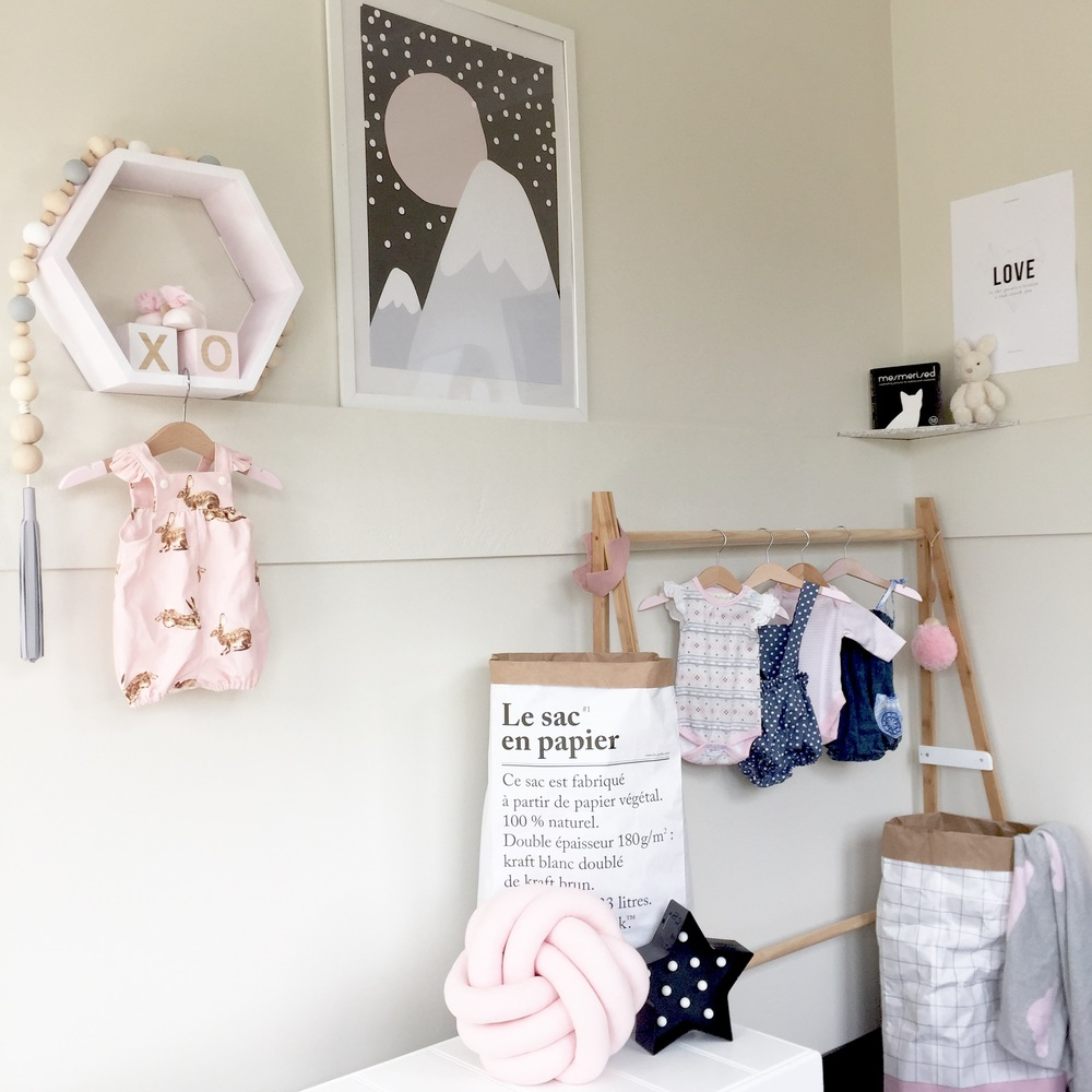 Mountain print from Arrows and Paper Crowns, Pretty Tidy grid sack, various rompers (see below), LOVE print from MeOhMy, Mezmerised book, Luxe Baby Love giant pom