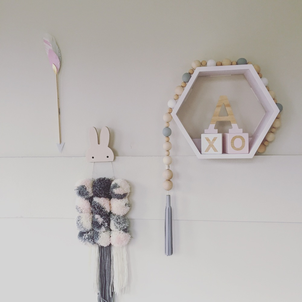 Captain and Co arrow, Marshmello Design wall hanging, Charlie and Jae bunny hook, Love Letters by Tillie 'A'
