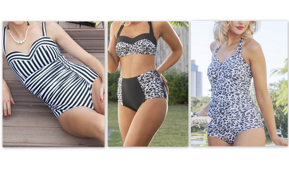 These are the three styles I chose. 1. Tummy Control Swimsuit, Parisian Black Stripe. 2. High Waist Ruched Bikini, Snow Leopard and Black. 3. Classic Vintage Swimsuit, Snow Leopard