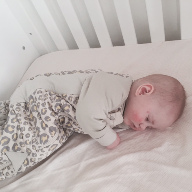 Aoife in her 2.5 TOG ergoPouch sleep suit