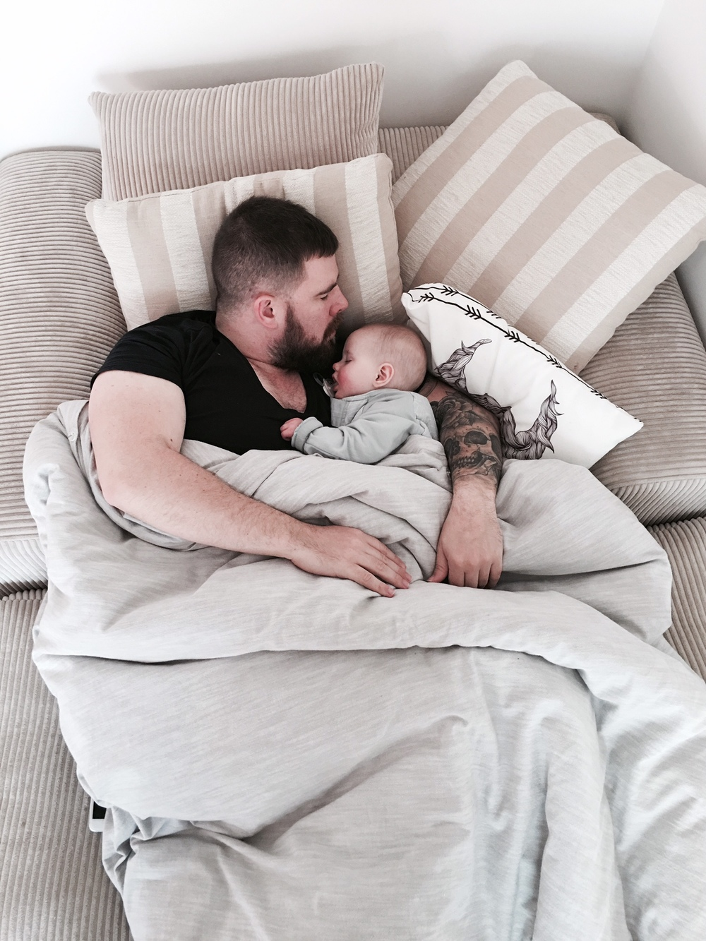 At least he'll snuggle the baby to sleep, useful for something! Just don't breathe on her MC...