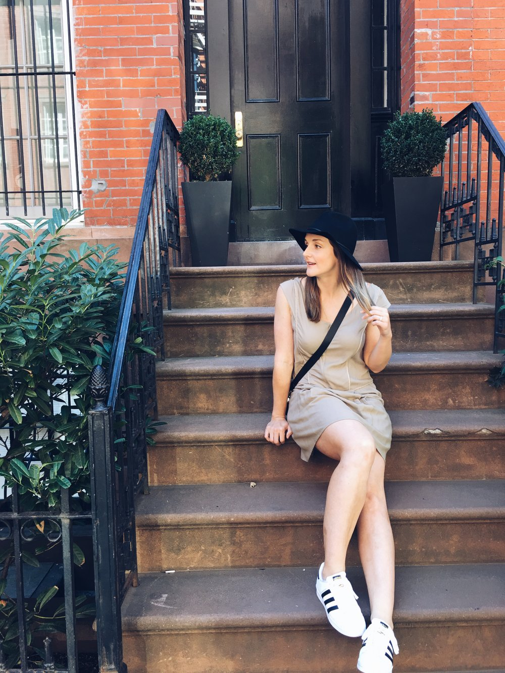 Oh you know, just casually hanging out on the steps of a Brownstone in West Village (wearing @aanilabel).