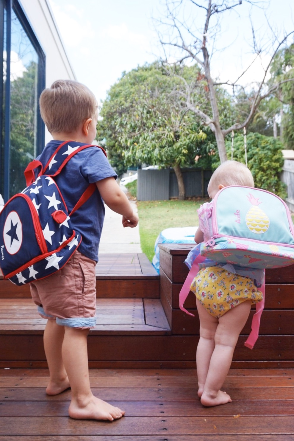 Stuck On You backpacks (Captain America inspired for Harry, of course!).