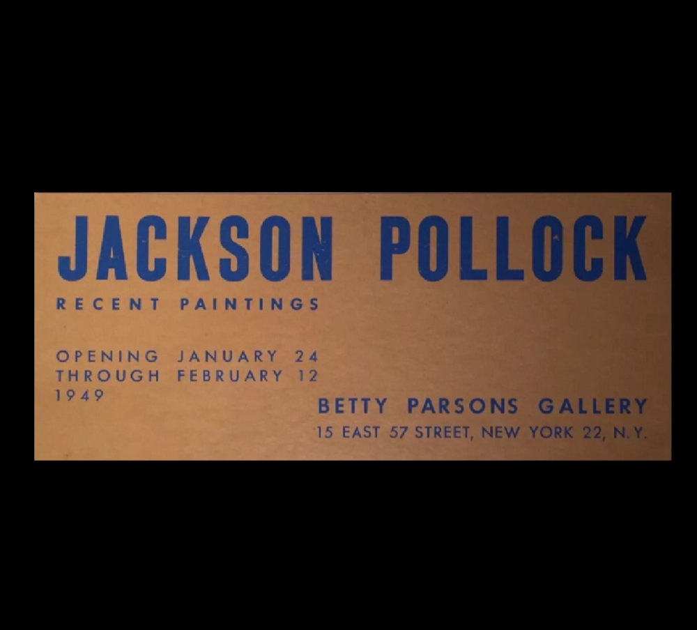"""Jackson Pollock"", 1949, exhibition invitation, Betty Parsons Gallery NYC."