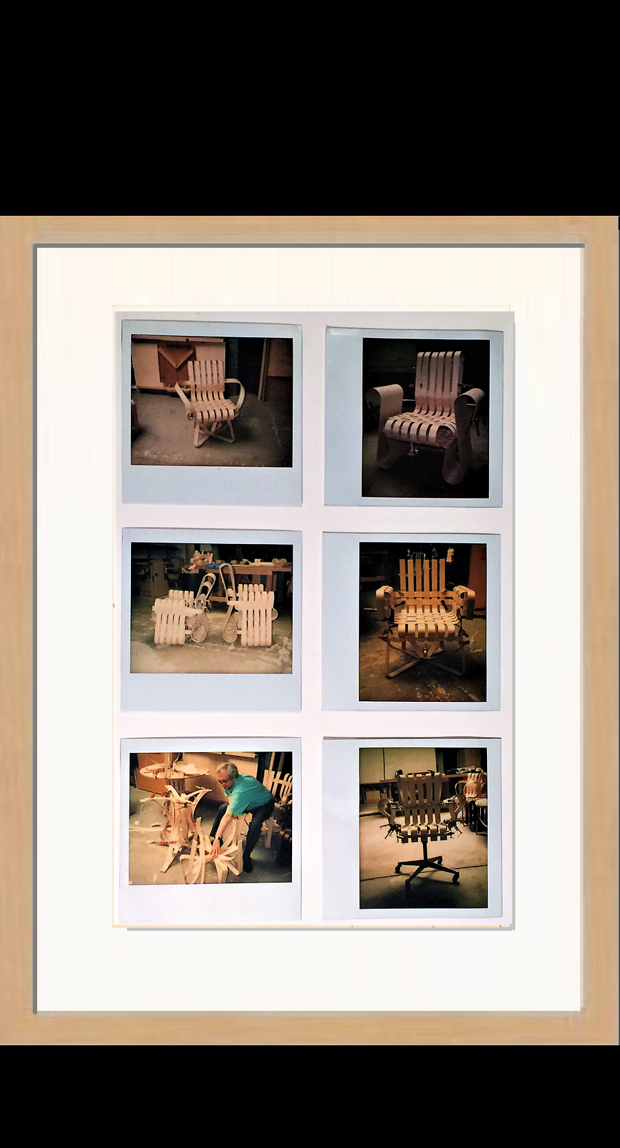 """6- Polaroid's"",  1989,   Knoll bent wood proto-types, unique"