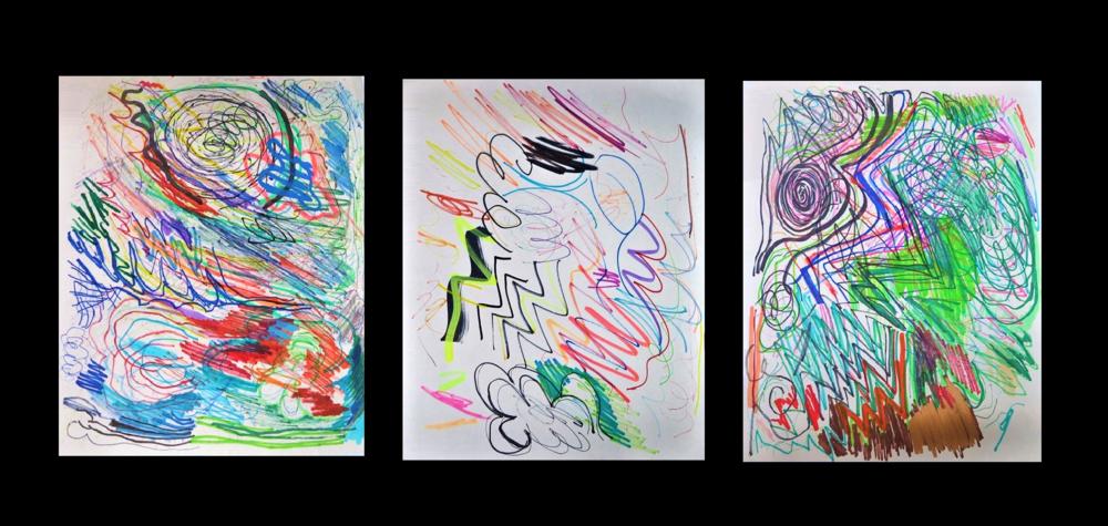 """DOODLES"" , 2016, Colored Markers on Paper,  Each UNIQUE ."