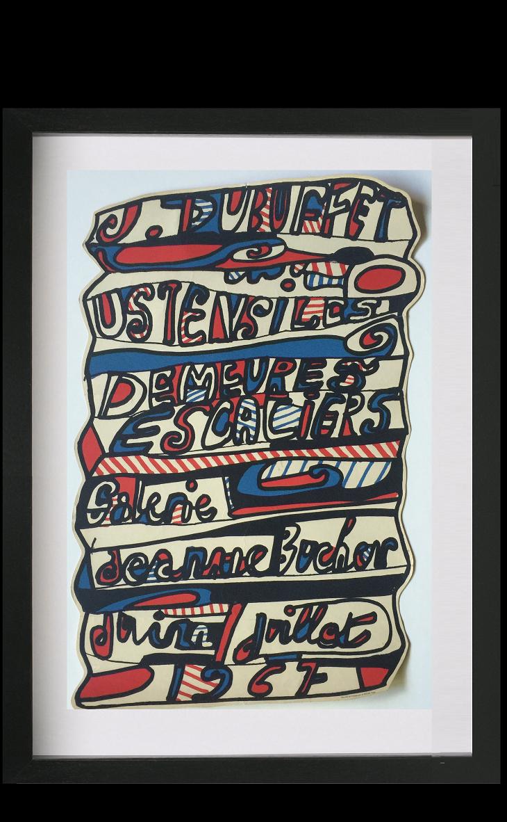 """Ustensiles, Demeures, Escaliers, Galerie Jeann Bucher, Juin Juillet 1967"",  die-cut exhibition poster, 1967,"