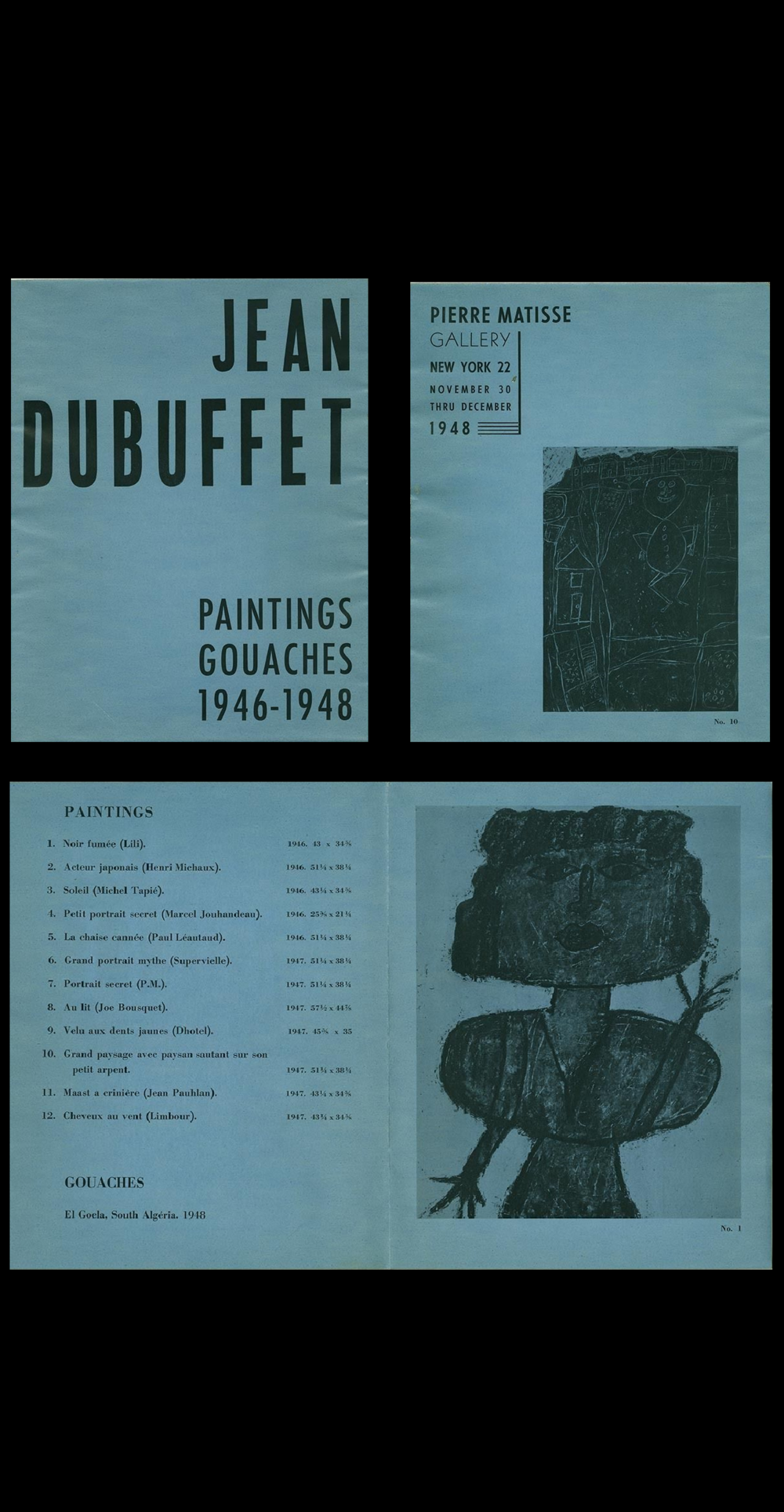 """Paintings Gouaches 1946-1948"", exhibition catalogue, 1948, Pierre Matisse Gallery NYC."