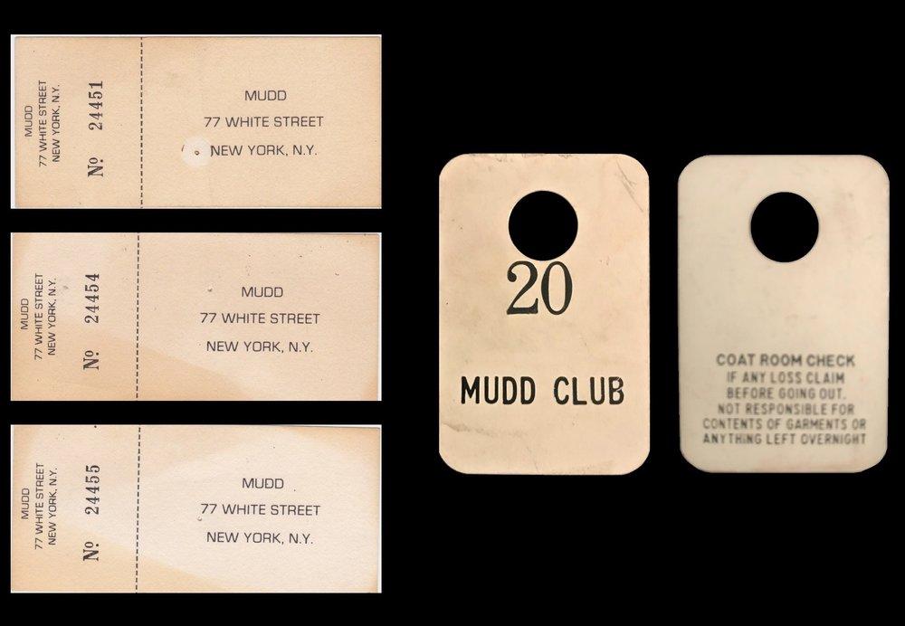 """mudd club NYC"", 1978-83, (3) admission tickets, (1) coat room check (plastic)."