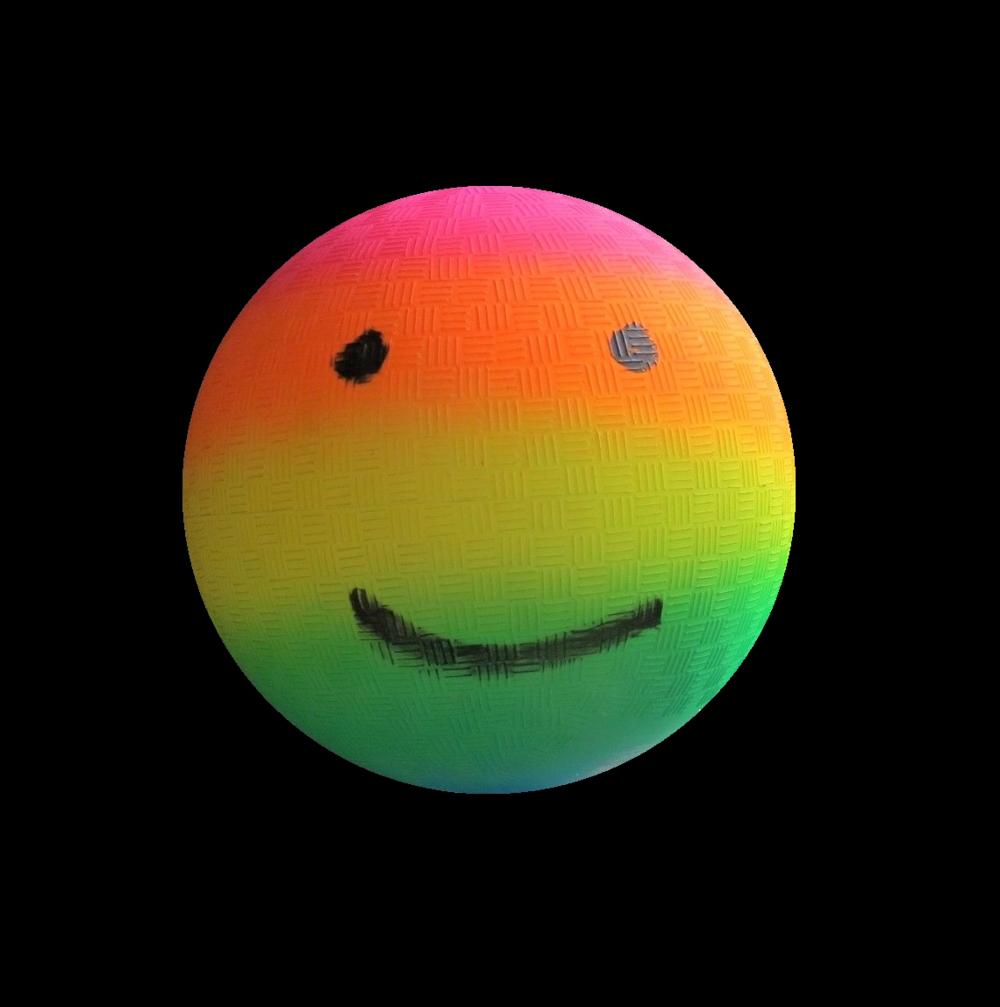 """EMOJI Rainbow Gradient Kickball"" , 2018, Spray Paint & Marker.UNIQUE."