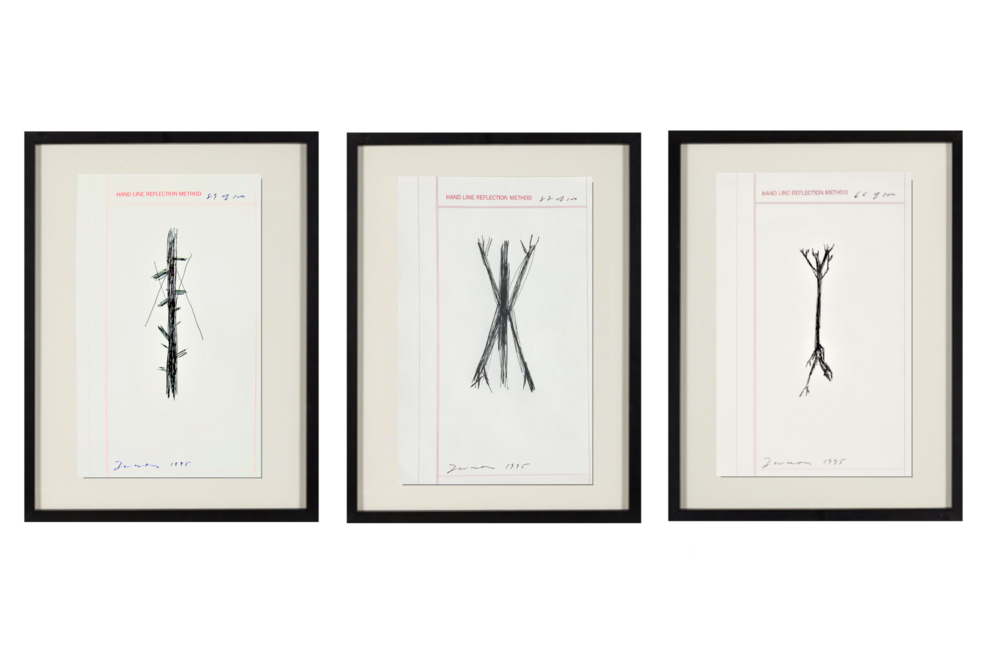"""Hand Line Reflection Method"" , 1995, set of 3, ink drawings, edition of 100."