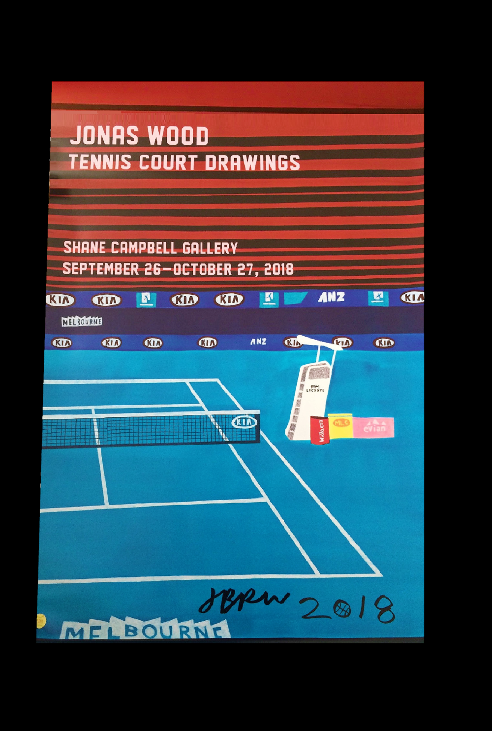 """Tennis Court Drawings"",  2018, Shane Campbell Gallery exhibition show poster, SIGNED, 36 × 24 in."