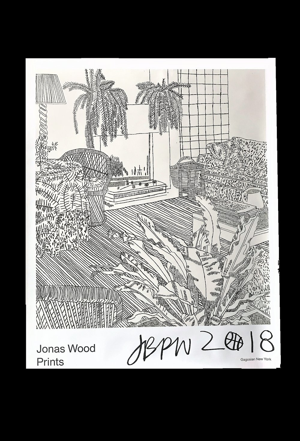 """Jonas Wood Prints"" #1 , 2018, SIGNED, Exhibit Poster, Gagosian NYC, 30 × 24 in."
