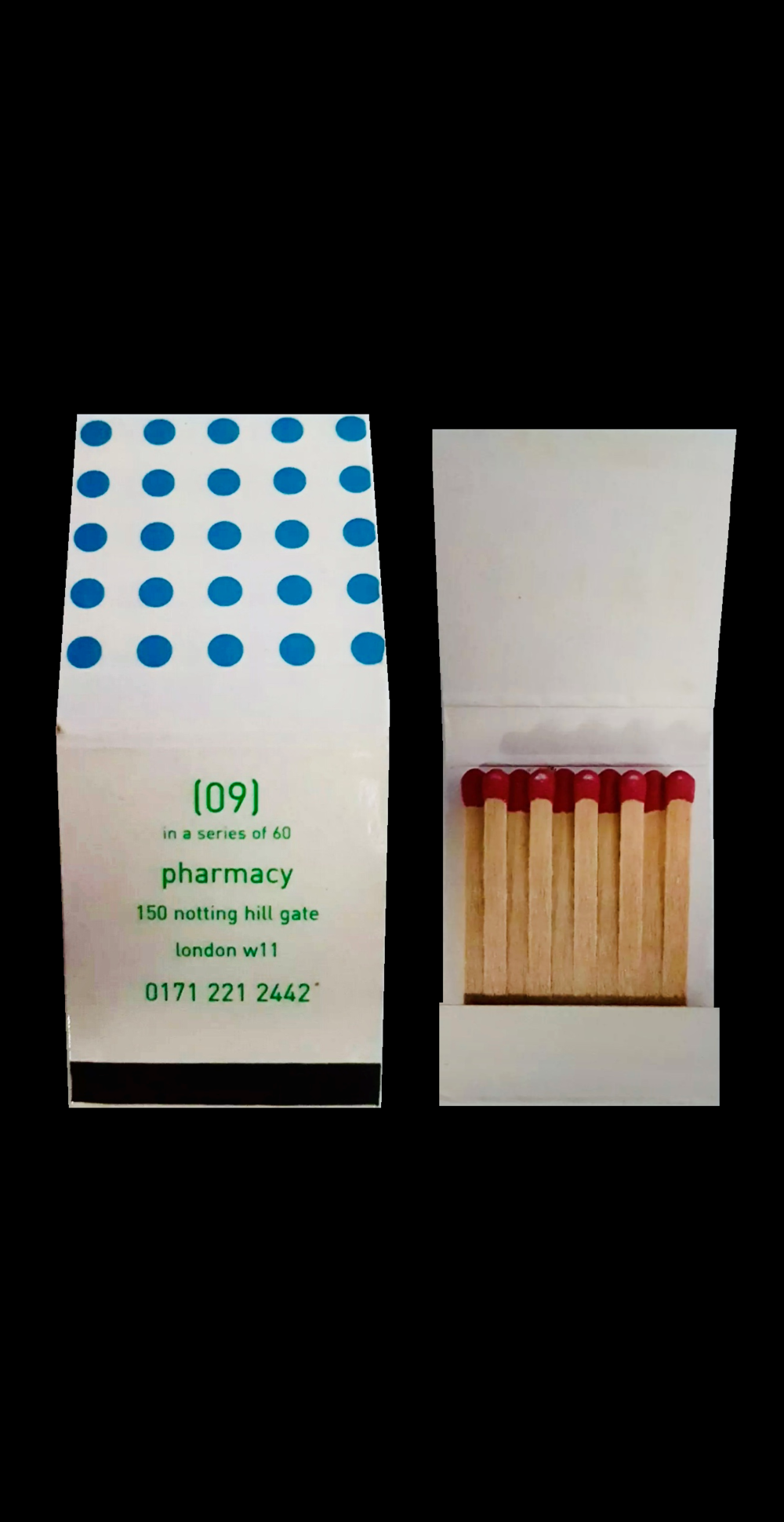 """Matchbook #7"" (prototype), 1997-2003, Pharmacy Restaurant"